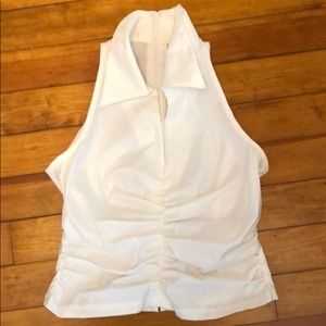 Tadashi Ruched White Top